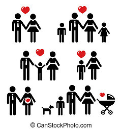 People icons - family, couples, pregnant woman, big family, single mom isolated on white background