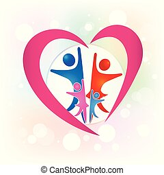 Family people in a love heart logo