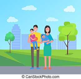 Family People in City Park Vector Illustration