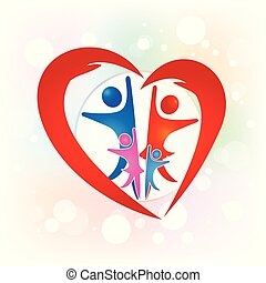 Family people love heart logo