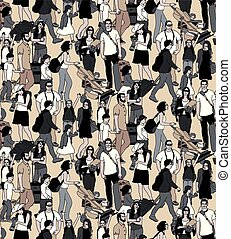 Family people travel luggage big group seamless pattern.