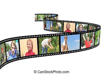 Family photos on filmstrip - over white