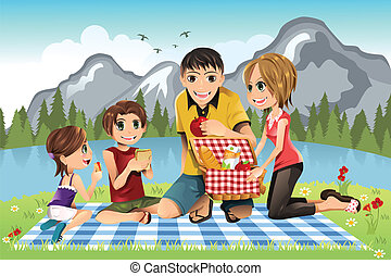 Family picnic - A vector illustration of a family having a ...