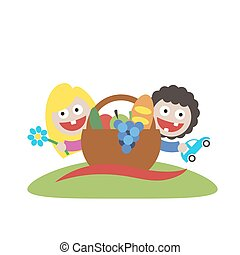 family picnic boy and girl art logo