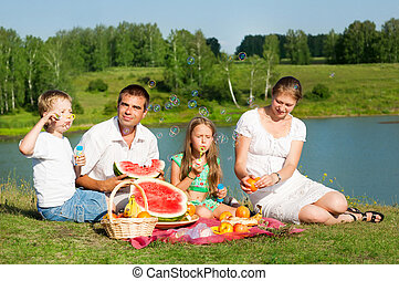 family picnic - family resting on the lake