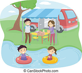 Family Picnic - Illustration of a Family Having a Picnic...