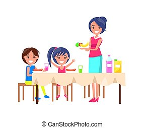 Family Picnic Mother and Kids Vector Illustration