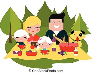 Family picnic outdoors vector illustration flat style