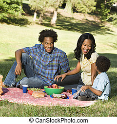 Family picnic. - Smiling happy parents and son having picnic...
