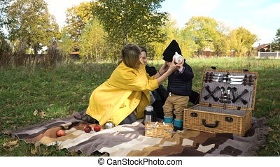 Family picnicking in the park.