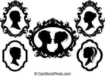 family pictures, vector - portrait silhouettes with antique ...