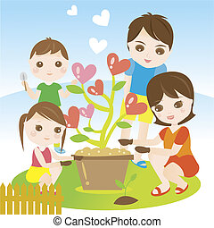Family planting and gardening with love