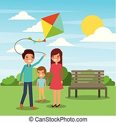 family play with kite funny in the park
