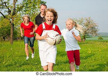 Family playing ballgames