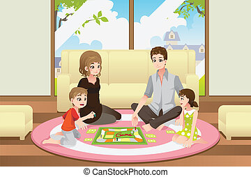 A vector illustration of a happy family playing a board game at home