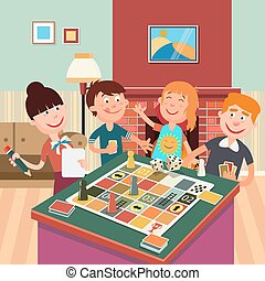 Family Playing Board Game. Happy Family Weekend. Vector...