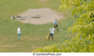 Family playing football in the park.