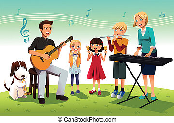 Family playing music - A vector illustration of happy family...