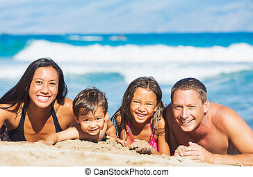 Family Playing on the Beach - Happy Mixed Race Family of...