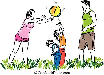 FAMILY PLAYING WITH BALL VECTOR ILLUSTRATION