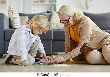 Family playing with toys at home