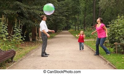 family plays some game with ball in park