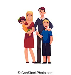 Family portrait of father, mother, daughter and son standing together