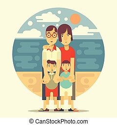 Family Portrait on Sea Background flat design