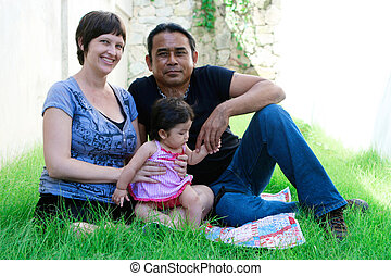 Family portrait. - Portrait of a multi-ethnic family:...