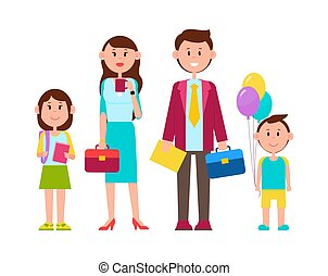 Family Poster with Happy Kids Vector Illustration