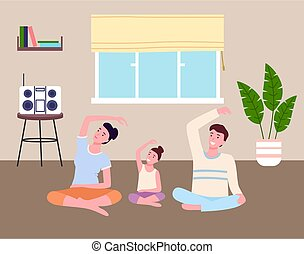 Family play sports at home together. Dad, mom and daughter do slopes, fitness stretching. Go in for sports at home. Boombox on table, potted plant, window with Roman curtain. Stay inddors. Flat image