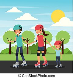 family practicing roller skate in the park landscape background