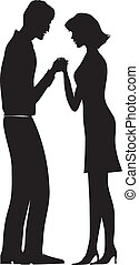 Family pray - Silhoutte of a praying couple