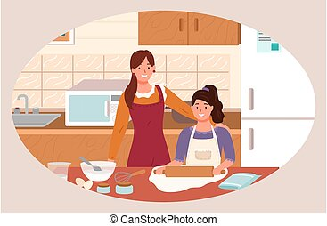 Family Preparation for Cookie in Kitchen Vector