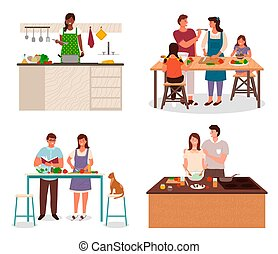 Family Preparing for Dinner in Kitchen Vector