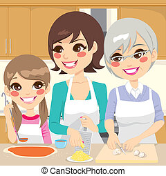 Three generation family preparing a delicious homemade pizza happy together in house kitchen