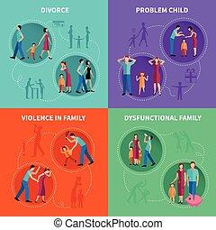 Family  Problems Decorative Icons Set