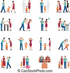 Flat color icons set depicting family problems of parents and children isolated vector illustration