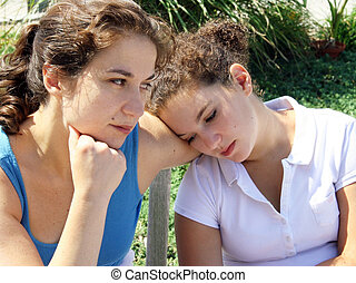 Family problems - Sad mother and daughter