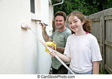 Family Project - A father and daughter painting the house...