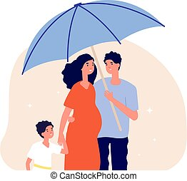 Family protection concept. Man holding umbrella under pregnant wife and son. Happy parents, adults and child. Life insurance, social protect metaphor vector illustration