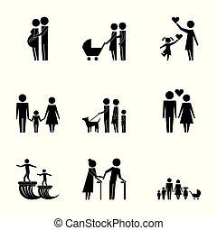 family protection pictogram parents grandparents kids