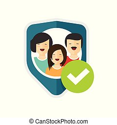 Family protection sign vector illustration, flat cartoon people group protected with shield and checkmark, family insurance or safety concept symbol or icon isolated clipart