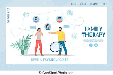 Family Psychological Therapy Flat Vector Webpage
