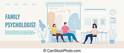 Family Psychologist Counseling Flat Vector Webpage
