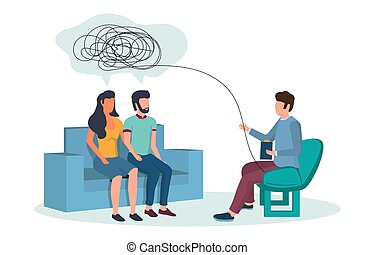 Family psychotherapy vector concept for web banner, website page
