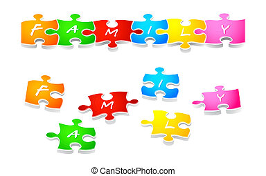 Family puzzle - Colorful family puzzle solved and in parts