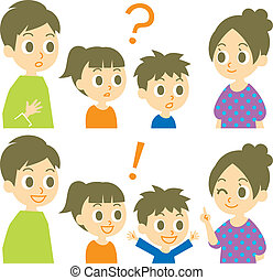 Family, question and answer, vector file