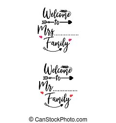 Family quote lettering typography. Welcome to family