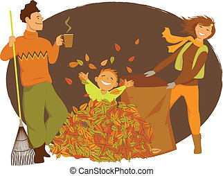 Family raking autumn leaves